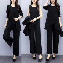 Dress Spring 2021 black L XL 2XL 3XL 4XL M Short skirt Three piece set Long sleeves commute Crew neck High waist Solid color routine Others 30-34 years old Looking for sleeves Korean version Three dimensional decoration More than 95% other Triacetate fiber (triacetate fiber) 100%