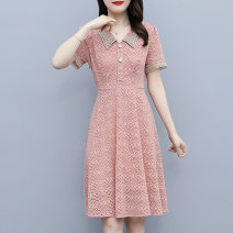 Dress Summer 2021 Black Pink L XL 2XL 3XL 4XL Mid length dress singleton  Short sleeve commute V-neck Solid color Ruffle Skirt routine Others 25-29 years old Looking for sleeves Korean version Three dimensional decoration More than 95% other Other 100% Pure e-commerce (online only)