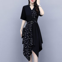 Dress Summer 2021 Picture color L XL 2XL 3XL 4XL 5XL Mid length dress singleton  Short sleeve commute V-neck Dot Irregular skirt routine Others 30-34 years old Looking for sleeves Korean version Three dimensional decoration More than 95% other Other 100% Pure e-commerce (online only)