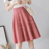 skirt Summer 2020 S,M,L,XL Black, pink Mid length dress commute High waist A-line skirt Solid color Type A 18-24 years old W 51% (inclusive) - 70% (inclusive) other other Korean version