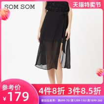 skirt Autumn of 2019 155/S 160/M 165/L 170/XL black Mid length dress sexy Natural waist Splicing style Solid color Type A 83C0220 More than 95% Somsomsom / soma other Lace mesh Other 100%