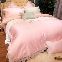 Bedding Set / four piece set / multi piece set cotton Embroidery Solid color 200*98 Other / other cotton 4 pieces Pink, yellow, lotus root, ginger Sheet type, bed skirt type, bedspread type Princess style 100% long-staple cotton Thermal storage