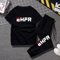 suit neutral summer leisure time Short sleeve + pants 2 pieces Thin money No model Socket nothing other Artificial colored cotton Class B Cotton 95% polyurethane elastic fiber (spandex) 5% Chinese Mainland