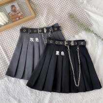 skirt Summer 2020 S,M,L,XL Short skirt commute High waist Pleated skirt Solid color Type A 18-24 years old C7671 30% and below other Other / other other fold Korean version
