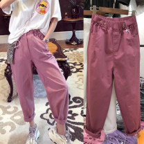 Women's large Summer 2020 L size 1XL 2XL 3XL 4XL trousers singleton  commute easy thin Conjoined Solid color Korean version Polyester others Three dimensional cutting Huixia (clothing) pocket Polyester 70% other 30% Pure e-commerce (online only) Ninth pants