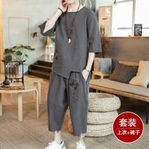 T-shirt Youth fashion White, black, dark grey, tz08 black, TZ12 black, tz13 black thin M (95-120 Jin), l (120-135 Jin), XL (135-150 Jin), 2XL (150-170 Jin), 3XL (170-185 Jin), 5XL (200-225 Jin), 4XL (185-200 Jin) Others three quarter sleeve Crew neck easy Other leisure summer youth routine 2019