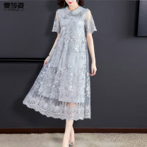 Women's large Summer 2021 Green grey purple M L XL XXL 3XL 4XL Dress singleton  commute easy moderate Socket Short sleeve Decor Korean version Crew neck routine WSZDSD02-7920 Wenshazi 40-49 years old Embroidery longuette Other 100% Pure e-commerce (online only) bow