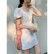 Dress Spring 2021 White black S M Mid length dress singleton  Short sleeve commute square neck Loose waist Solid color Socket A-line skirt puff sleeve Others 18-24 years old Type A Itfi (clothing) Simplicity 2005T1011 More than 95% brocade cotton Cotton 100% Exclusive payment of tmall