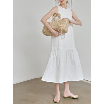 Dress Spring 2021 White black Average size Mid length dress singleton  Sleeveless commute Crew neck Loose waist Solid color Socket Big swing other straps 18-24 years old Type A Itfi (clothing) Simplicity 102CSK11515 More than 95% brocade cotton Cotton 100%