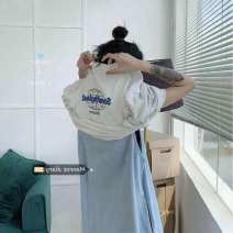 Dress Summer 2020 Light grey tee, light denim skirt Average size Mid length dress singleton  Sleeveless commute Solid color Socket other straps 18-24 years old Ezrin Korean version qO8Go 30% and below other