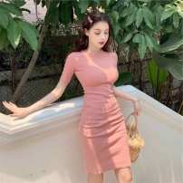 Dress Summer of 2019 Cinnabar red, coral girl pink, purple flowers, temperament black, cobalt green, corn yellow Average size Middle-skirt singleton  Short sleeve commute Crew neck High waist Solid color Socket other routine Others 18-24 years old Ezrin Retro 3ZoTI