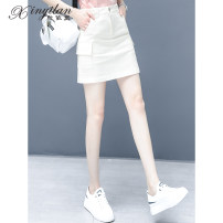 skirt Summer 2021 S M L XL 2XL 3XL Light Khaki white black Short skirt commute High waist A-line skirt Solid color Type A 25-29 years old 271-43-MSN ASFAG 51% (inclusive) - 70% (inclusive) Denim Xinyilan Viscose Pocket stitching Korean version Viscose (viscose) 68% polyester 32%