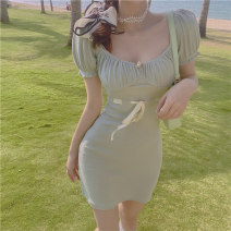 Women's large Summer 2021 Milk green L S M singleton  Short sleeve other puff sleeve Xiangtitong 18-24 years old Bandage 96% and above Short skirt Other 100% Pure e-commerce (online only)