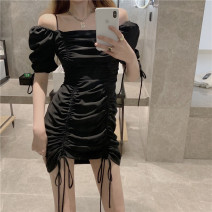 Women's large Summer 2021 black L S M singleton  commute Korean version One word collar other 306# 306# Xiangtitong 18-24 years old 96% and above Short skirt Other 100% Pure e-commerce (online only)