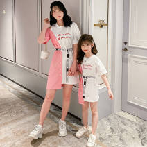 Dress Summer 2021 Blue red L XL 110cm 120cm 130cm 140cm 150cm 160cm mom M Short skirt singleton  Short sleeve other routine 18-24 years old Beautiful clothes for a long time More than 95% other other Other 100%