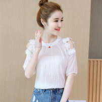 Lace / Chiffon Summer 2021 White blue S M L XL XXL Short sleeve commute Socket singleton  easy Regular Crew neck stripe other 35-39 years old Yueruiya Korean version 96% and above Other 100% Pure e-commerce (online only) polyester fiber