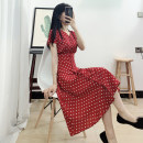 Dress Summer 2020 Red dots (no fading) XS S M L XL XXL Mid length dress singleton  Short sleeve commute V-neck High waist Dot Single breasted A-line skirt routine Others 18-24 years old Type A You Yu Pang Shang Retro Red dot More than 95% other Other 100%