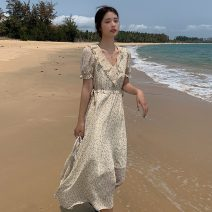 Dress Summer 2021 The design is apricot , The design is white S,M,L,XL,2XL longuette singleton  Short sleeve commute V-neck High waist Decor other Big swing other Others 18-24 years old Type X Korean version 81% (inclusive) - 90% (inclusive) Chiffon polyester fiber
