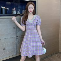 Dress Summer 2021 violet S,M,L,XL Middle-skirt singleton  Short sleeve commute V-neck High waist lattice Socket A-line skirt puff sleeve Others 18-24 years old Type A Korean version Stitching, lace 51% (inclusive) - 70% (inclusive) other other