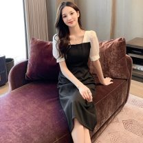 Dress Summer 2021 black S,M,L,XL Mid length dress singleton  Short sleeve commute square neck High waist Solid color zipper A-line skirt puff sleeve Others 18-24 years old Type A Korean version 51% (inclusive) - 70% (inclusive) other polyester fiber