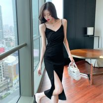 Dress Summer 2021 Black short, black long S,M,L,XL,2XL Mid length dress singleton  Sleeveless commute High waist Solid color Socket Pencil skirt other camisole 18-24 years old Type H Korean version 51% (inclusive) - 70% (inclusive) other other