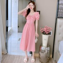 Dress Summer 2021 White, pink S,M,L,XL longuette singleton  Short sleeve commute V-neck High waist Solid color Socket A-line skirt Petal sleeve Others 25-29 years old Type A Korean version 31% (inclusive) - 50% (inclusive) Chiffon other