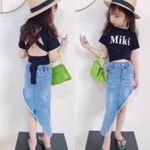 skirt 150cm,100cm,110cm,120cm,130cm wathet Other / other female Other 100% summer skirt Europe and America Solid color Irregular