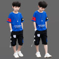 suit Bad little treasure Blue, red, yellow, white, sky blue 110cm,120cm,130cm,140cm,150cm,160cm,170cm male summer leisure time Short sleeve + pants 2 pieces Thin money There are models in the real shooting Socket nothing Cartoon animation cotton children Expression of love other other Other 100%