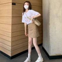 Women's large Summer 2021 S M L XL Dress Two piece set commute Short sleeve Korean version Crew neck routine routine Belles of ladybro 18-24 years old Short skirt Other 100% Pure e-commerce (online only) shorts
