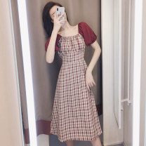 Women's large Summer 2021 gules S M L XL Dress singleton  commute Short sleeve lattice Retro One word collar puff sleeve Belles of ladybro 18-24 years old longuette Other 100% Pure e-commerce (online only)