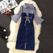 Dress Winter 2016 blue L,XL,2XL,3XL pagoda sleeve camisole Other / other Frenulum