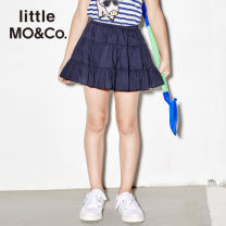 skirt 140/58 150/61 110/53 120/53 110/50 130/56 Deep blue Little MO&CO. female Cotton 100% summer skirt Europe and America Solid color cotton YLBW88884 Summer of 2018