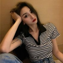T-shirt stripe S,M,L Summer 2021 Short sleeve Crew neck easy have cash less than that is registered in the accounts commute other 51% (inclusive) - 70% (inclusive) 18-24 years old Korean version Thin horizontal stripe MY