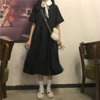 Dress Summer 2021 black Average size Middle-skirt singleton  Short sleeve commute High waist Solid color Socket A-line skirt other 18-24 years old Type A Korean version MY 51% (inclusive) - 70% (inclusive)