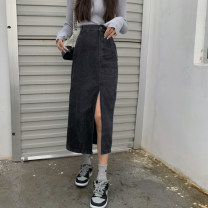 skirt Summer 2021 S,M,L Blue, black Mid length dress commute High waist other Solid color Type A 18-24 years old MY 51% (inclusive) - 70% (inclusive) Korean version