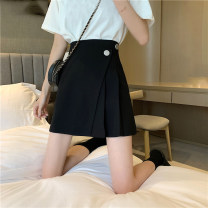 skirt Summer 2021 S,M,L Gray, black Short skirt commute High waist A-line skirt Solid color Type A 18-24 years old MY 51% (inclusive) - 70% (inclusive) fold Korean version