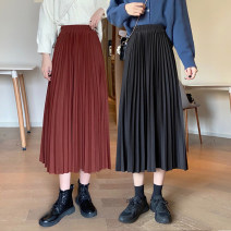 skirt Summer 2021 Average size Coffee, apricot, purple, green, blue, black Mid length dress commute High waist A-line skirt Solid color Type A 18-24 years old MY 51% (inclusive) - 70% (inclusive) other polyester fiber Korean version