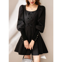 Dress Spring 2021 black S,M,L,XL Short skirt singleton  Long sleeves square neck High waist Solid color zipper A-line skirt puff sleeve 25-29 years old Other / other Stitching, stereo decoration, zipper A379 cotton