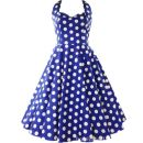 Dress Summer of 2019 Red, blue, black S,M,L,XL,2XL Middle-skirt singleton  Sleeveless commute V-neck middle-waisted Dot Socket Princess Dress other Others 25-29 years old Type A Other Retro Bow, print, open back 31% (inclusive) - 50% (inclusive) brocade cotton