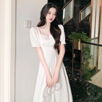 Women's large Summer 2021 White black S M L Dress singleton  commute Socket Short sleeve Solid color Retro V-neck routine Sticking core rabbit 18-24 years old Middle-skirt Other 100%