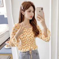T-shirt Pink yellow S M L XL Spring 2021 Long sleeves square neck Regular pagoda sleeve commute other 96% and above 25-29 years old Korean version classic Broken flowers Lynq (clothing) LYNQ52101581 Other 100%