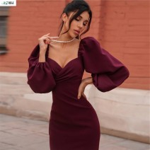 Dress Autumn 2020 Color/1 Color/2 Color/3 Color/4 S M L Mid length dress singleton  Long sleeves Lotus leaf collar High waist Solid color Socket One pace skirt puff sleeve 18-24 years old Na Zheng More than 95% Chiffon polyester fiber Polyester 100%
