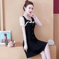 Women's large Summer 2020 black Large L, large XL, 2XL, 3XL, 4XL, 5XL Dress singleton  commute Self cultivation moderate Socket Short sleeve Solid color Korean version square neck Medium length Three dimensional cutting other Other 25-29 years old Button Medium length other