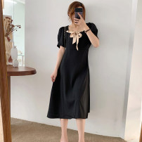 Dress Pomelo to see you black M L XL XXL Korean version Short sleeve Medium length summer square neck Solid color