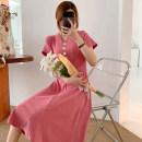 Dress Pomelo to see you Pink Black M L XL XXL Korean version Short sleeve Medium length summer V-neck Solid color