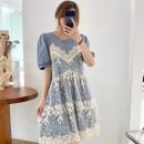 Dress Pomelo to see you Apricot blue M L XL XXL Korean version Short sleeve Medium length summer Crew neck shape