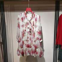 Dress Spring 2021 Cherry Blossom powder M, L longuette singleton  Long sleeves commute V-neck middle-waisted Decor Socket A-line skirt routine 25-29 years old Type A printing MY1102153 polyester fiber