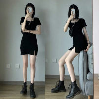 Dress Summer 2021 Black [split on left] S,M,L Short skirt singleton  Short sleeve square neck High waist Solid color One pace skirt routine 18-24 years old 51% (inclusive) - 70% (inclusive) knitting other