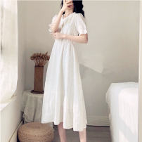 Women's large Summer 2021 white L XL S M 2XL singleton  commute Short sleeve Solid color Korean version V-neck Medium length puff sleeve DH87841 Diao Huan 18-24 years old Button longuette Other 100% Pure e-commerce (online only) Princess Dress