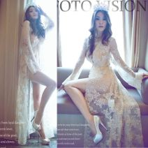 Dress Summer 2015 Apricot Average size longuette singleton  Long sleeves street V-neck middle-waisted Solid color other Big swing pagoda sleeve Type A Other / other Embroidery, lace up 81% (inclusive) - 90% (inclusive) Lace Europe and America